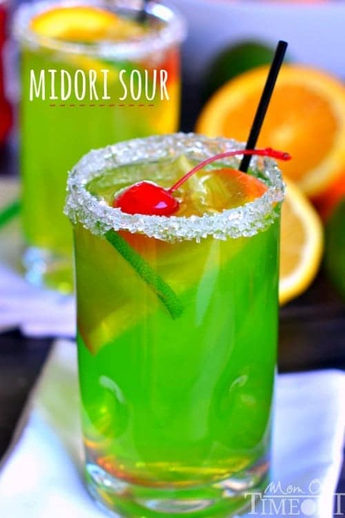 An easy recipe for MIDORI SOUR cocktails! Fruity, fun, and delicious! | MomOnTimeout.com | #cocktail #recipe