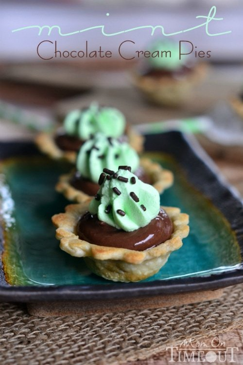 Mini Chocolate Mint Cream Pies | MomOnTimeout.com Mini pie shells filled with chocolate cream and mint!
