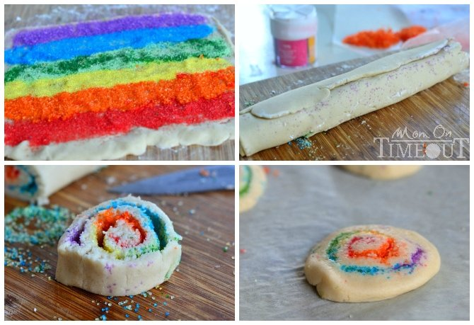 rainbow cookies rolled into pinwheels