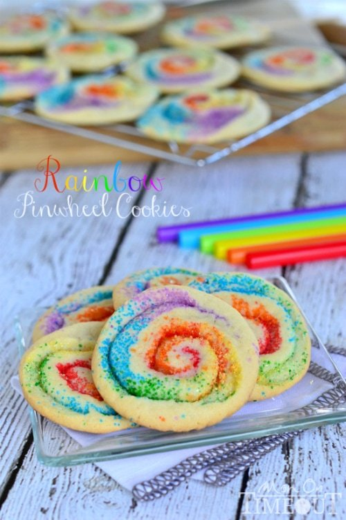 rainbow cookies made with sugar cookie dough