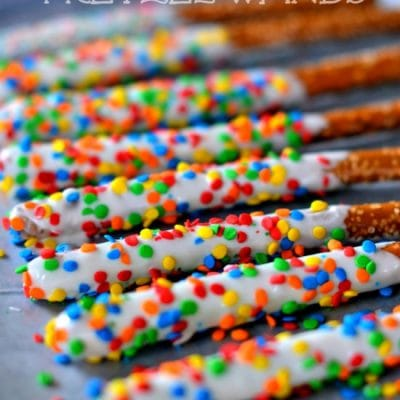 Easy Rainbow Pretzel Wands