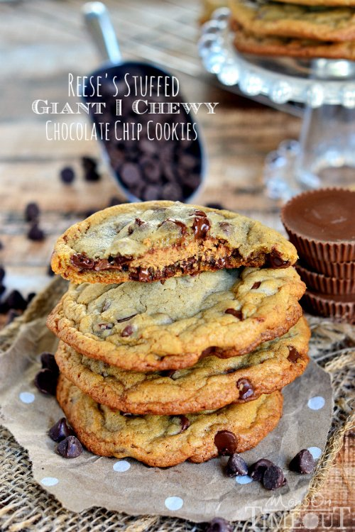 chocolate chip cookies with reeses peanut butter cup in the center