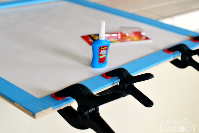 Glue trim pieces to backing