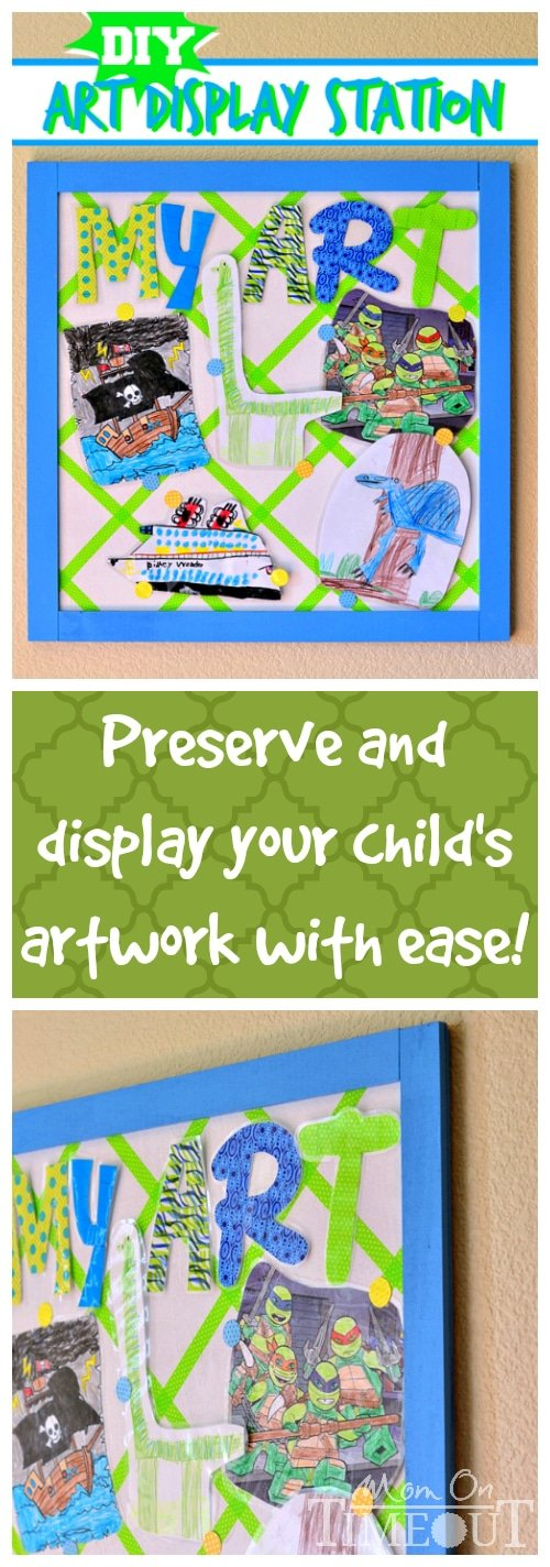 This DIY Art Display Station is the perfect solution for displaying and preserving your child's artwork! | MomOnTimeout.com #MakeAmazing