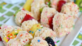 Funfetti Rice Krispies Treats Fruit Kabobs