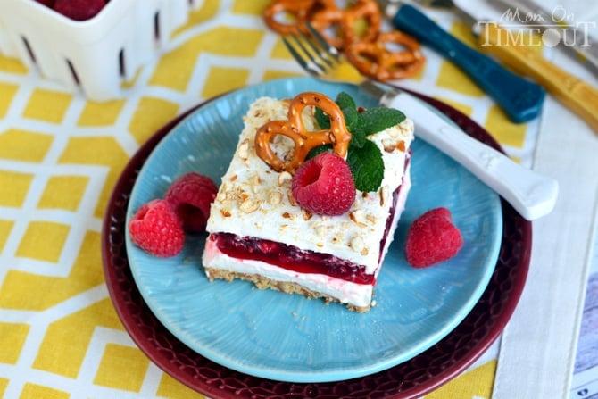 Raspberry Pretzel Dessert Salad | MomOnTimeout.com