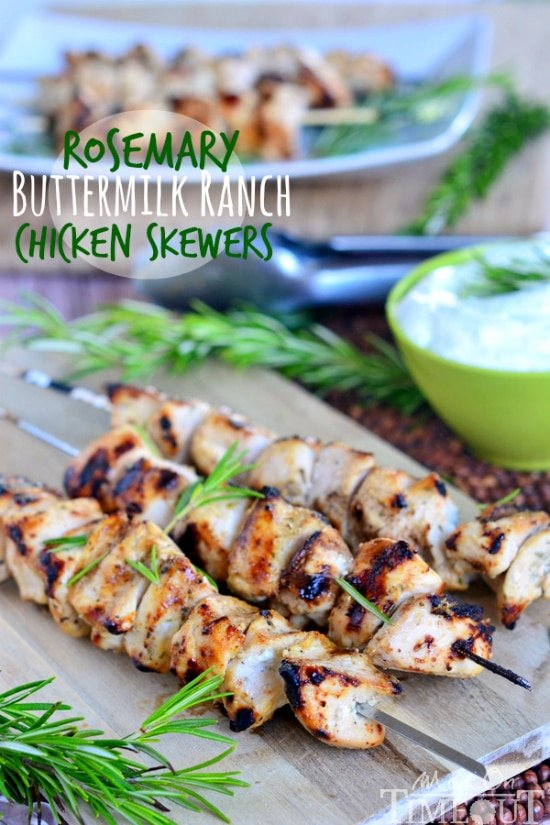 Rosemary Buttermilk Ranch Chicken Skewers from MomOnTimeout.com