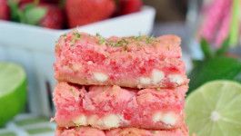 Strawberry Lime White Chocolate Gooey Bars
