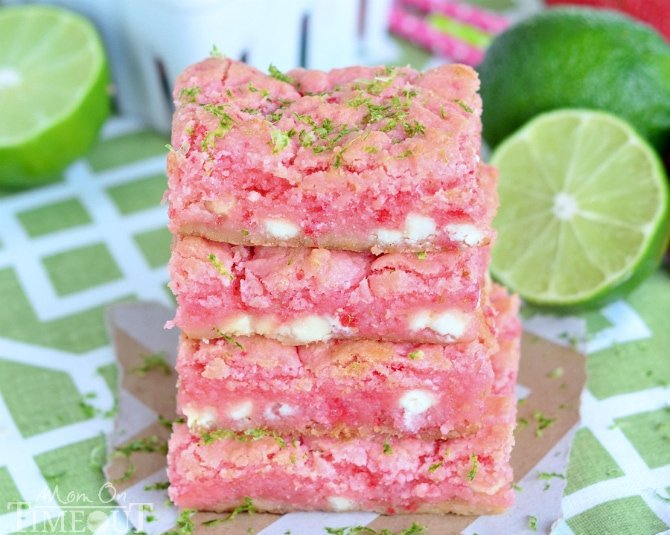These Strawberry Lime White Chocolate Gooey Bars will make the perfect spring or summer time treat! | MomOnTimeout.com