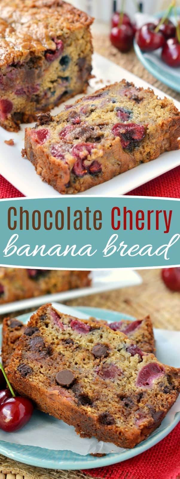 Chocolate Cherry Banana Bread! The chocolate and cherry combination is the perfect complement to this tasty banana bread. Exceptionally moist and tender, you won't be able to stop at just one slice! Prepare to be amazed! // Mom On Timeout #banana #bread #chocolate #cherry #recipe #bananabread #ripebananas #momontimeout