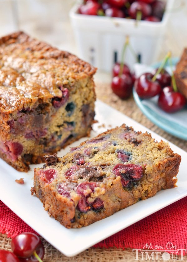 Chocolate Cherry Banana Bread! Exceptionally moist and tender, you won't be able to stop at just one slice! | MomOnTimeout.com