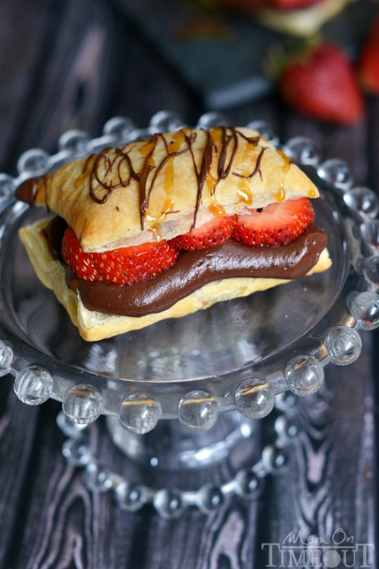 Chocolate Caramel and Strawberry Napoleons are perfectly elegant and take less than 20 minutes to prepare! | MomOnTimeout.com