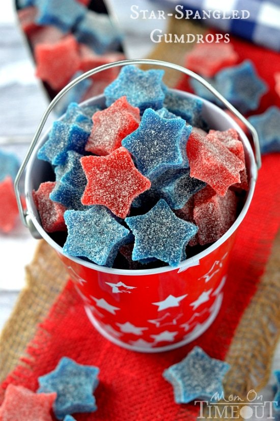 East-to-make Star-Spangled Gumdrops are perfect for Memorial Day, 4th of July and Labor Day as well!   MomOnTimeout.com