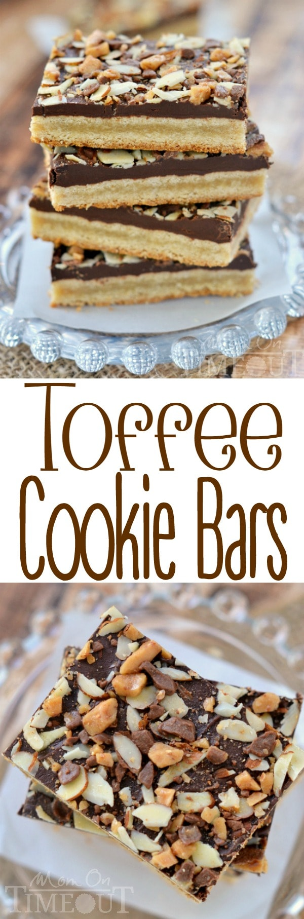 You're going to go crazy for these Toffee Cookie Bars! Simple cookie bars topped with a decadent chocolate layer, almonds and toffee bits - just delicious! | MomOnTimeout.com