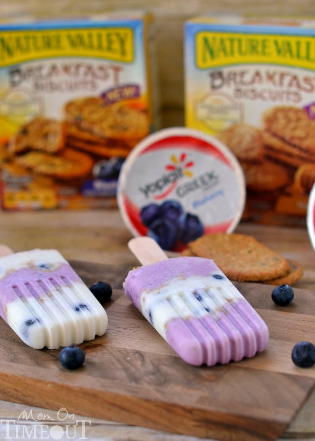Popsicles for breakfast? You bet! Blueberry Breakfast Parfait Pops made with Greek yogurt.   MomOnTimeout.com #ad