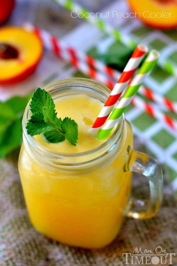 You're going to love the fresh, summer flavors of this refreshing Coconut Peach Cooler! | MomOnTimeout.com