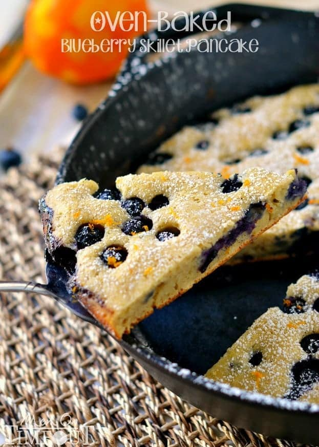 Oven-Baked Blueberry Skillet Pancake with orange zest and cinnamon. | MomOnTimeout.com #breakfast #blueberries #pancakes