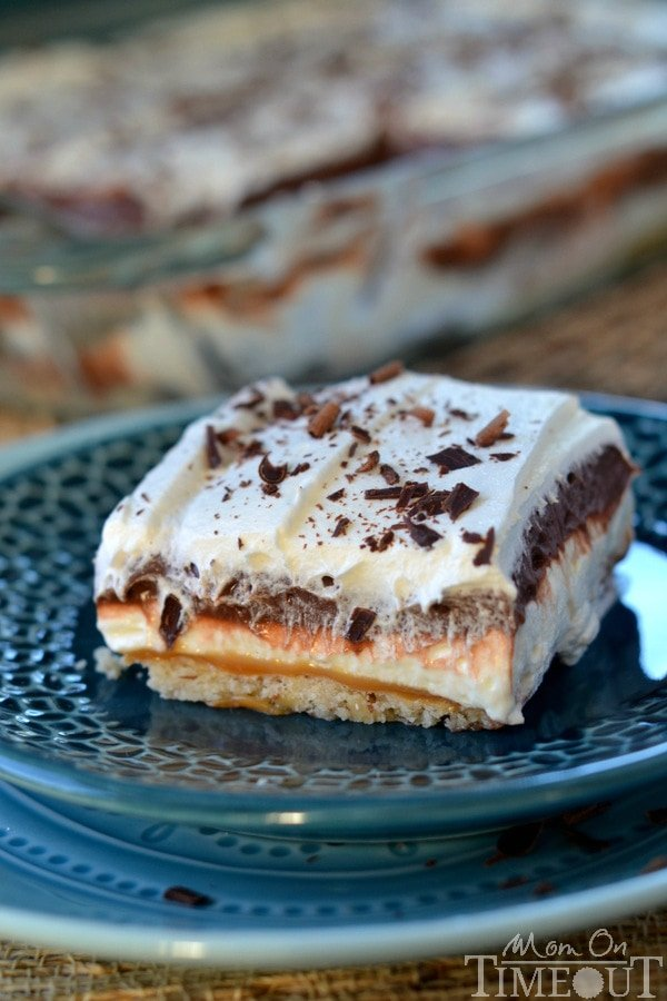 Get ready to impress with this easy-to-make, gorgeous Chocolate Caramel 5-Layer Dessert! | MomOnTimeout.com #dessert #recipe #chocolate #IDelight