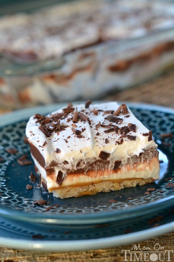 Get ready to impress with this easy-to-make, gorgeous Chocolate Caramel 5-Layer Dessert!   MomOnTimeout.com #dessert #recipe #chocolate #IDelight