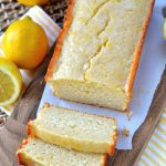 glazed-light-lemon-bread-loaf on cutting board