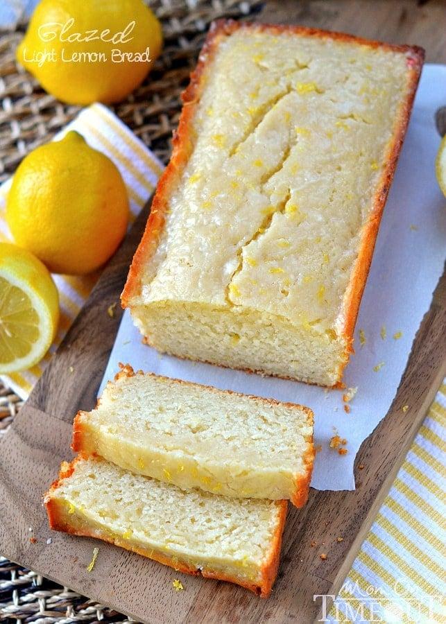 glazed-light-lemon-bread-loaf on cutting board