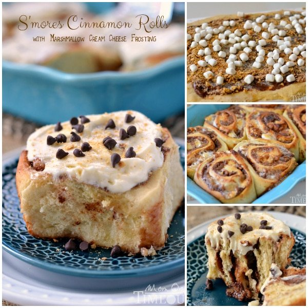 S'mores Cinnamon Rolls with Marshmallow Cream Cheese Frosting | MomOnTimeout.com #breakfast #recipe #smores