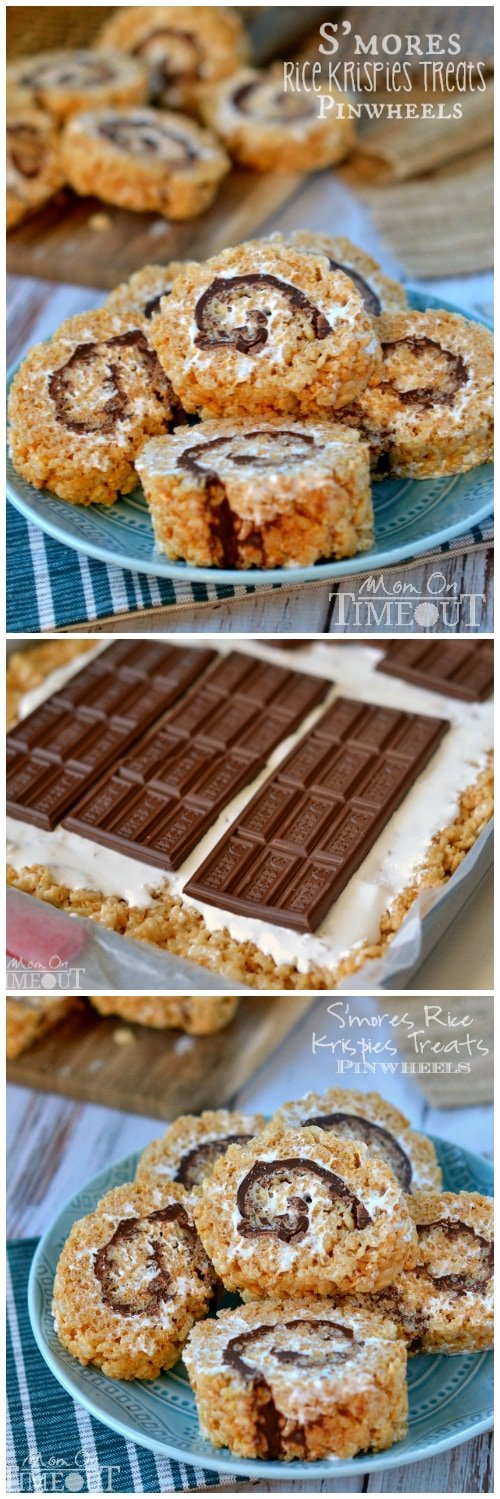 Say goodbye to boring squares and hello to these fun S'mores Rice Krispies Treats Pinwheels! Layers of marshmallow, chocolate, and graham cracker rice krispies treats are rolled up into the perfect bite-size package! Irresistible! // Mom On Timeout