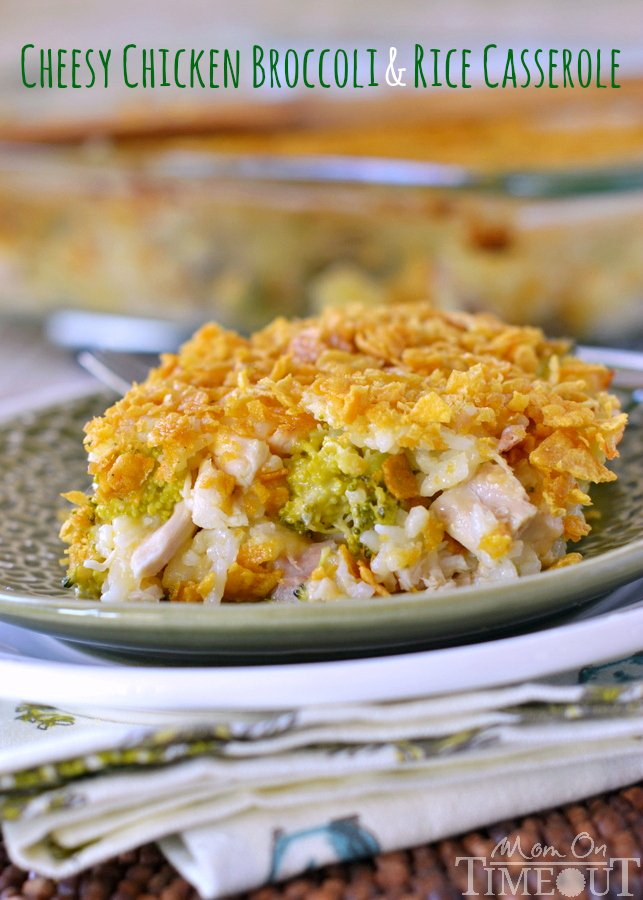 chicken broccoli rice cheese casserole on plate