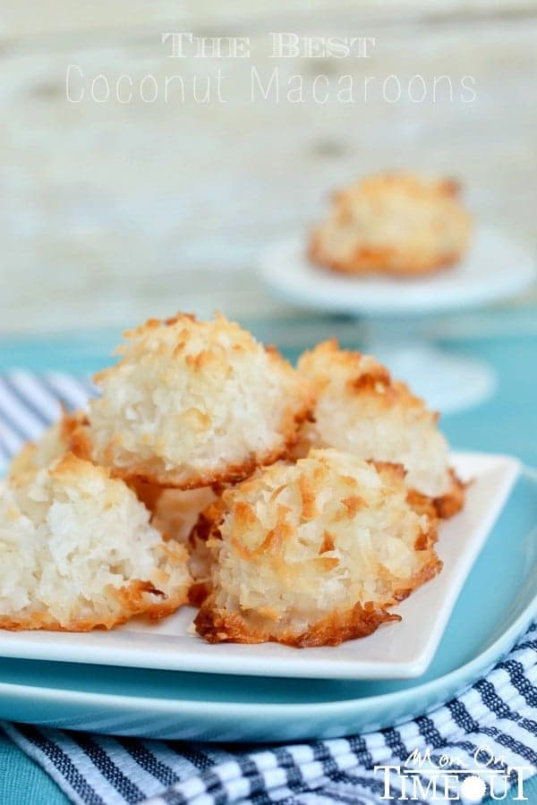 best coconut macaroons recipe piled high on a blue plate