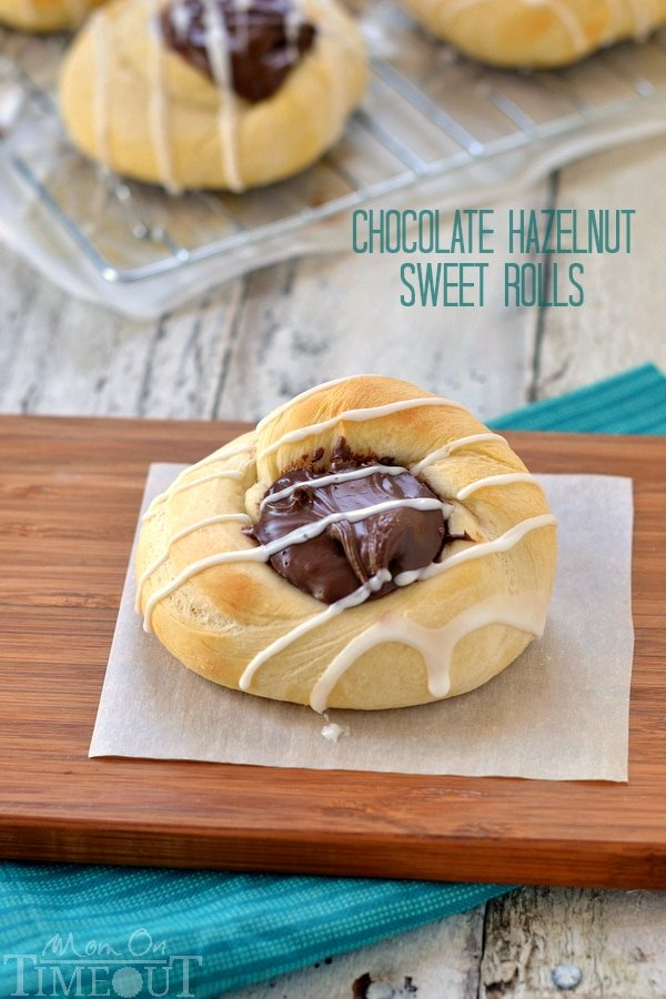These delicious Chocolate Hazelnut Sweet Rolls take just under an hour to make and are most definitely worth the effort! | MomOnTimeout.com | #chocolate #recipe #IDelight