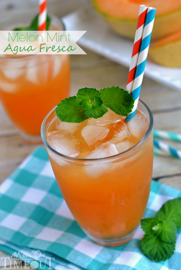 Delight in the refreshing flavors of melon and mint in this tasty Melon Mint Agua Fresca! | MomOnTimeout.com | #aguafreca #beverage #drink #recipe