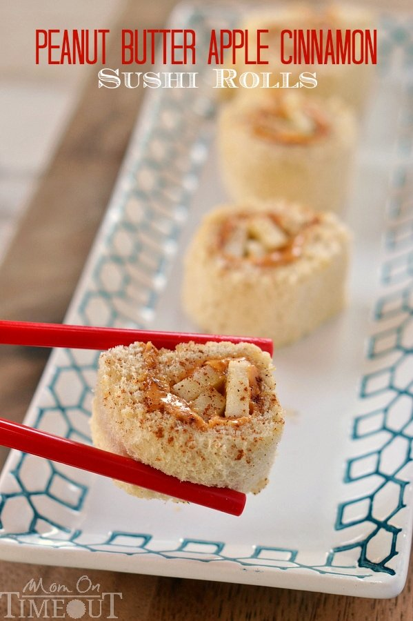 Peanut Butter Apple Cinnamon Sushi Rolls are the perfect snack or lunch for kids! | MomOnTimeout.com | #snack #lunch #recipe #peanutbutter