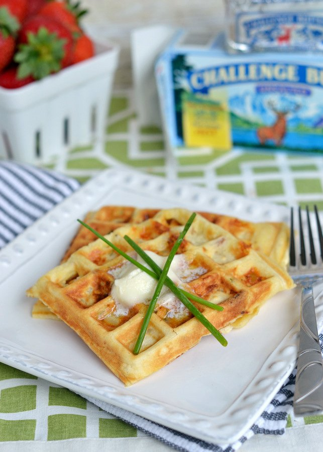 These freezer-friendly Bacon, Potato and Cheese Waffles make school mornings just a little bit easier and a lot more yummy! | MomOnTimeout.com | #breakfast #waffles #Challenge #sponsored