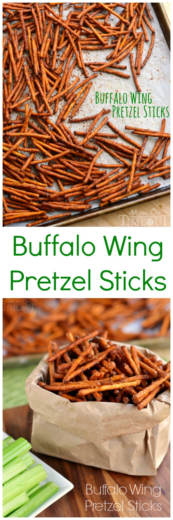 These Buffalo Wing Pretzel Sticks are the perfect snack to enjoy while watching the game!   MomOnTimeout.com   #recipe #appetizer #football #snack