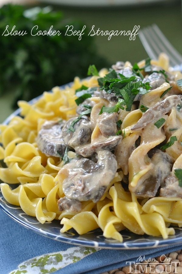 This amazingly simple, and deliciously creamy Slow Cooker Beef Stroganoff needs to make it onto your dinner menu this week! | MomOnTimeout.om | #slowcooker #crockpot #recipe #dinner