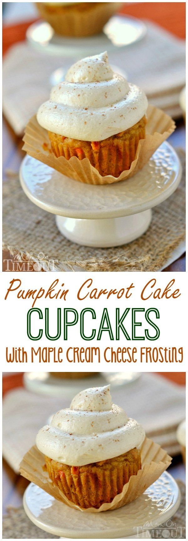 Pumpkin Carrot Cake Cupcakes with Maple Cream Cheese Frosting - the cupcakes you need to make this Fall! | MomOnTimeout.com | #dessert #recipe #pumpkin #maple #cupcakes