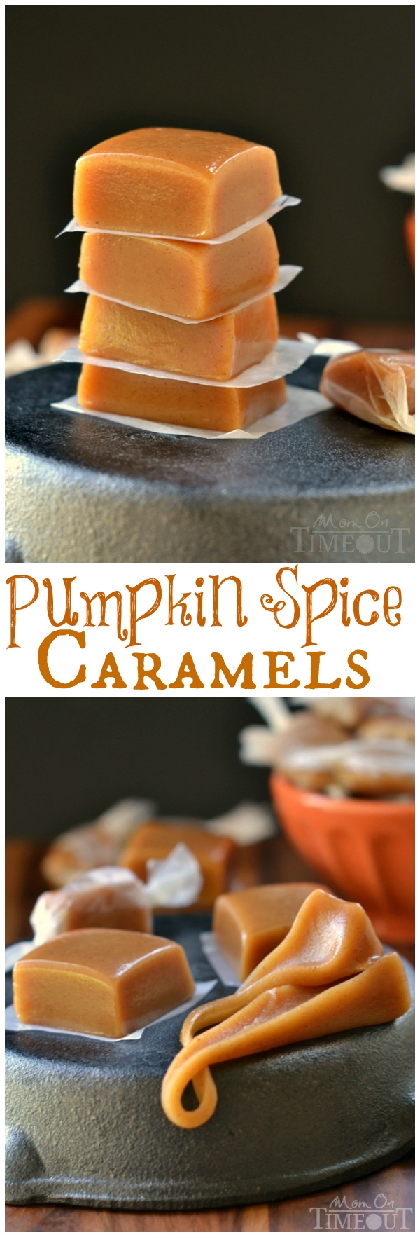 Soft, chewy, buttery, and perfectly spiced, these Pumpkin Spice Caramels are impossible to resist. | MomOnTimeout.com | #fall #candy #recipe #pumpkin