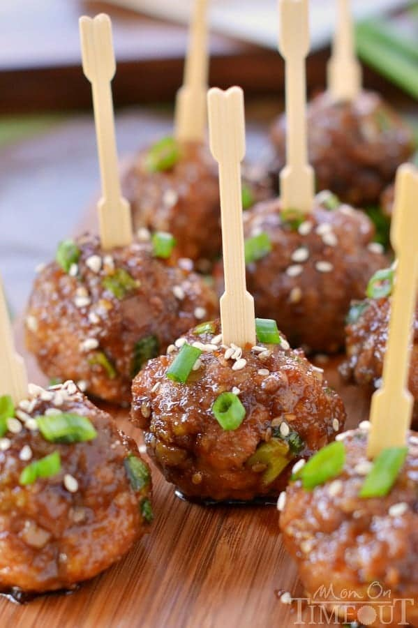 These delicious Teriyaki Meatballs make for a killer appetizer or an amazing dinner when served over a bed of rice! | MomOnTimeout.com | #recipe #dinner #appetizer