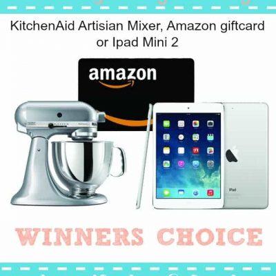Win a KitchenAid Mixer, Amazon Gift Card OR an iPad Mini!