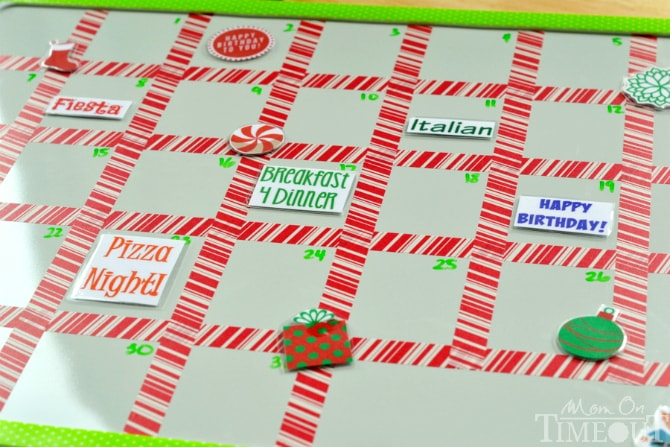 This easy DIY Seasonal Menu Board is perfect for meal planning! Reusable magnets and fun washi tape add festive flair to this organizational tool! | MomOnTimeout.com | #craft #DIY #organization #menu #planningl #MakeAmazing #ad