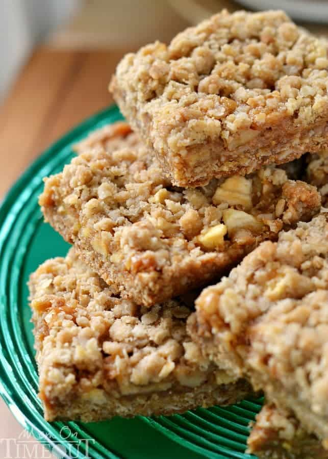 Caramel Apple Oat Bars are the perfect way to celebrate the season! Packed full of fresh apples, nuts and oozing with caramel, these bars are hard to resist!   MomOnTimeout.com   #dessert #recipe #fall #apple #caramel