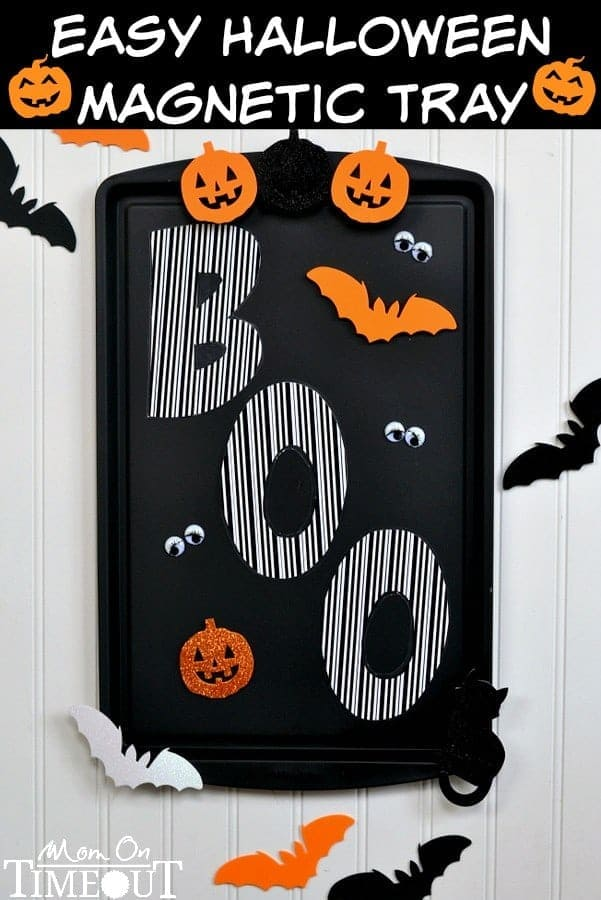 Looking for a last minute Halloween craft? This easy-to-make Halloween Magnetic Tray is the perfect addition to your Halloween decor! | MomOnTimeout.com | #craft #Halloween #MakeAmazing #ad