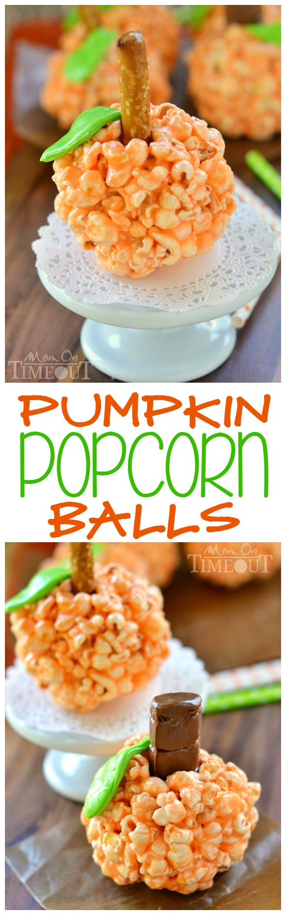 Fun and oh-so delicious, these Pumpkin Popcorn Balls are made with marshmallows for the ultimate soft and chewy treat! Perfect for Halloween and Thanksgiving!   MomOnTimeout.com   #recipe #Halloween Thanksgiving #kids