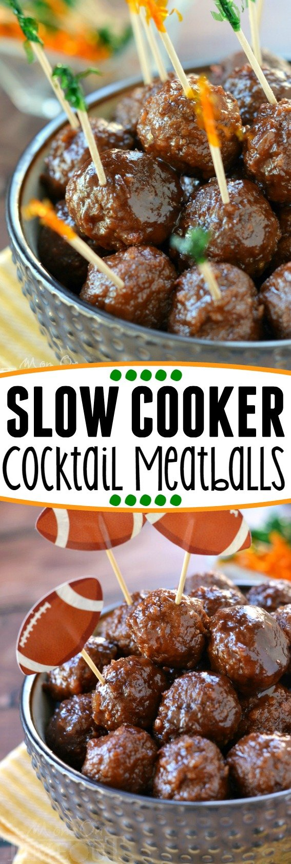 These Slow Cooker Cocktail Meatballs are made with just three ingredients! Guaranteed to be a hit at your next party! | MomOnTimeout.com| #slow #cooker #crockpot #recipe #dinner #appetizer #easy