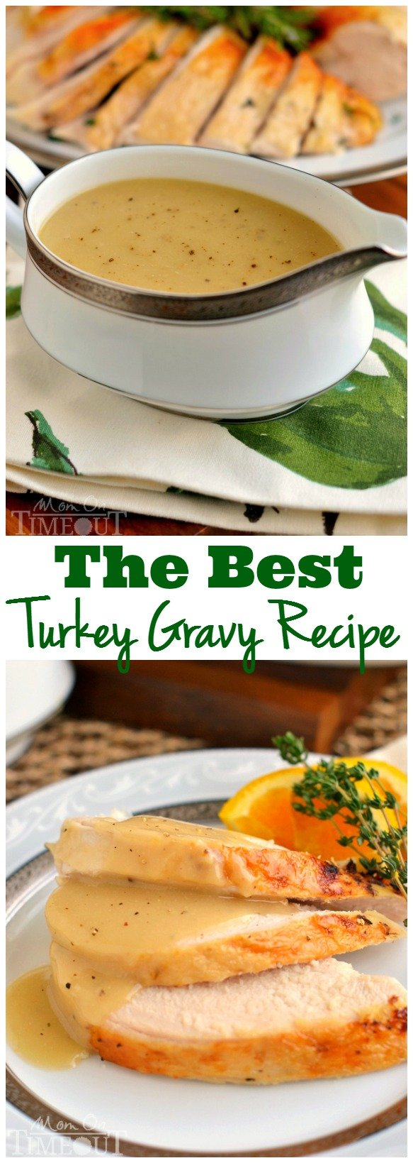 Silky smooth and perfectly rich, this really is the BEST Turkey Gravy recipe around! There's nothing better than topping creamy mashed potatoes with the most amazing turkey gravy and this recipe delivers - every single time. // Mom On Timeout #gravy #recipe #turkey #thanksgiving #Christmas #easy