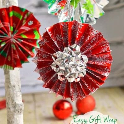 Easy Gift Wrap Medallion Ornaments