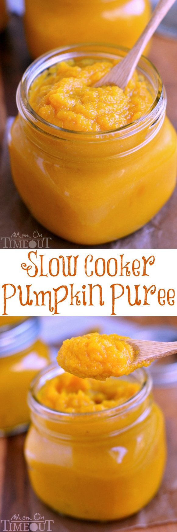 An easy step-by-step tutorial showing how to make Slow Cooker Pumpkin Puree - so, so much better than store bought! | MomOnTimeout.com | #slow #cooker #crockpot #DIY #Thanksgiving #Christmas #pumpkin