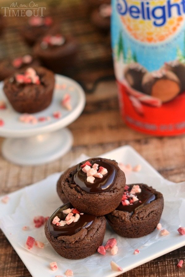 These Peppermint Chocolate Truffle Cookie Cups are filled with a peppermint chocolate ganache for a truly decadent holiday experience! | MomOnTimeout.com | #dessert #Christmas #IDelight #ad