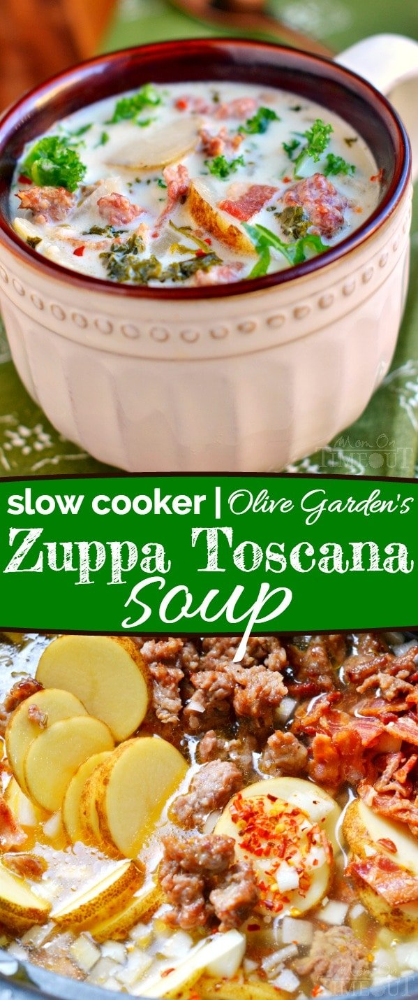 A crowd pleaser for sure! This Slow Cooker Olive Garden's Zuppa Toscana Soup is comfort food at it's best! // Mom On Timeout #recipe #soup #copycat #dinner #sausage #bacon #potatoes #kale