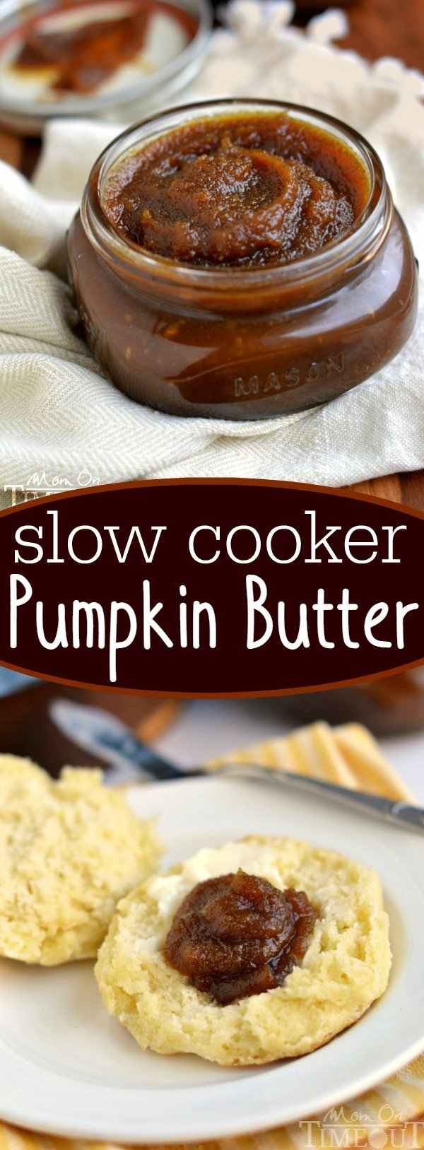 Slow Cooker Pumpkin Butter will rock your world! Buttery, sweet and totally decadent, this pumpkin butter is perfect on biscuits, scones or off of a spoon!